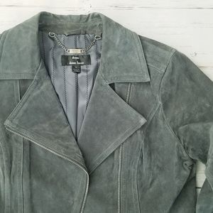 Jackets & Blazers - Gray Leather | Suede Moto Jacket